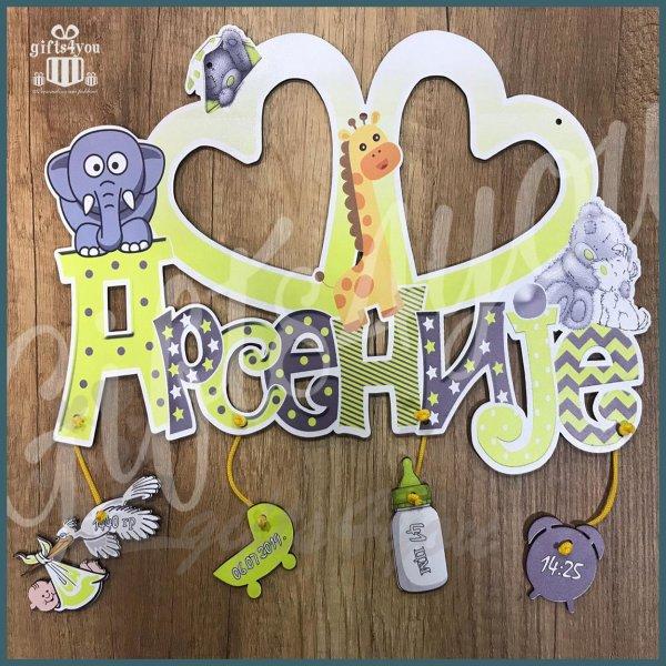 deciji-ramovi-Žuti ram sa žirafama medama i slonovima_37