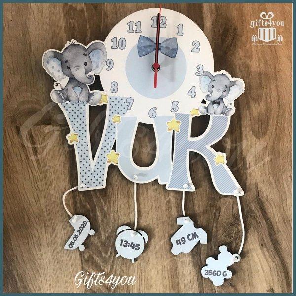 deciji-satovi-Sivi dečiji sat sa slončićima_41